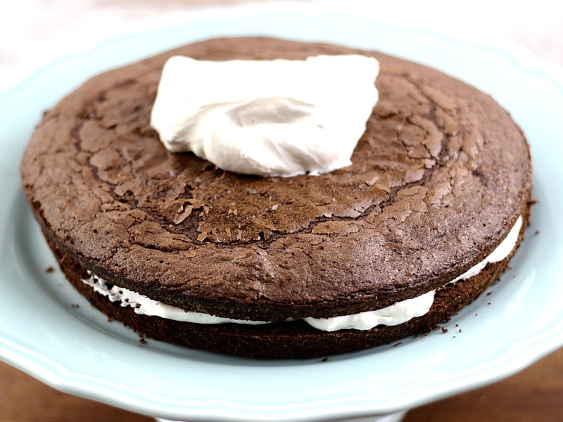 Round brownie layered with sour cream frosting.