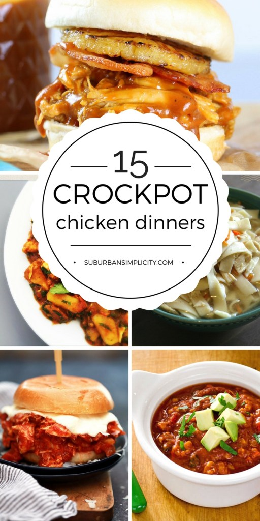 These easy crockpot chicken dinners make putting a hearty, homemade meal on the table super simple! Too busy to cook? These delicious crockpot ideas have you covered. #crockpotchicken