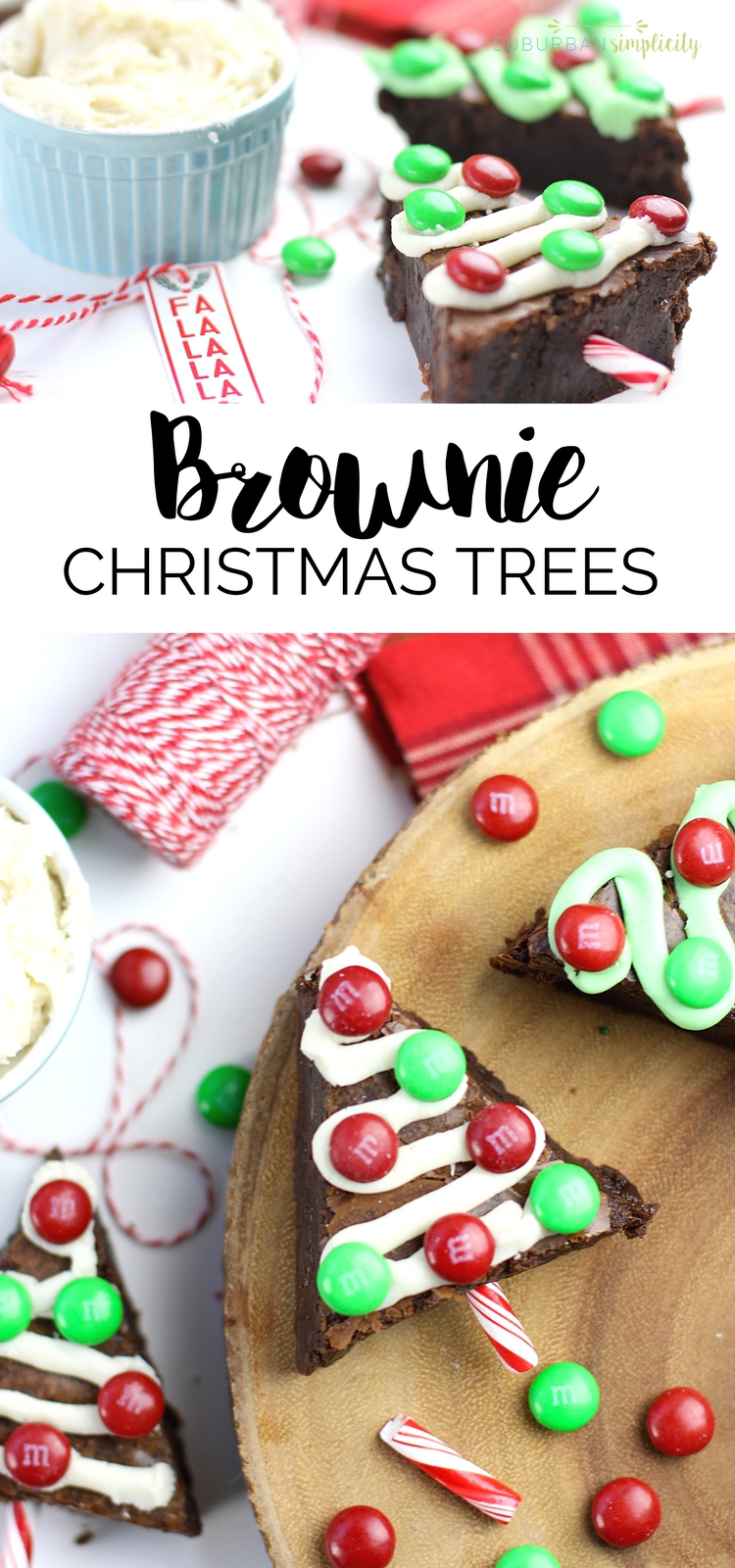 Make your holidays extra festive with these fudgy M&M'S Brownie Christmas Trees. Delicious and easy to make, this holiday dessert is a crowd pleaser! | Suburban Simplicity #brownies #Christmas