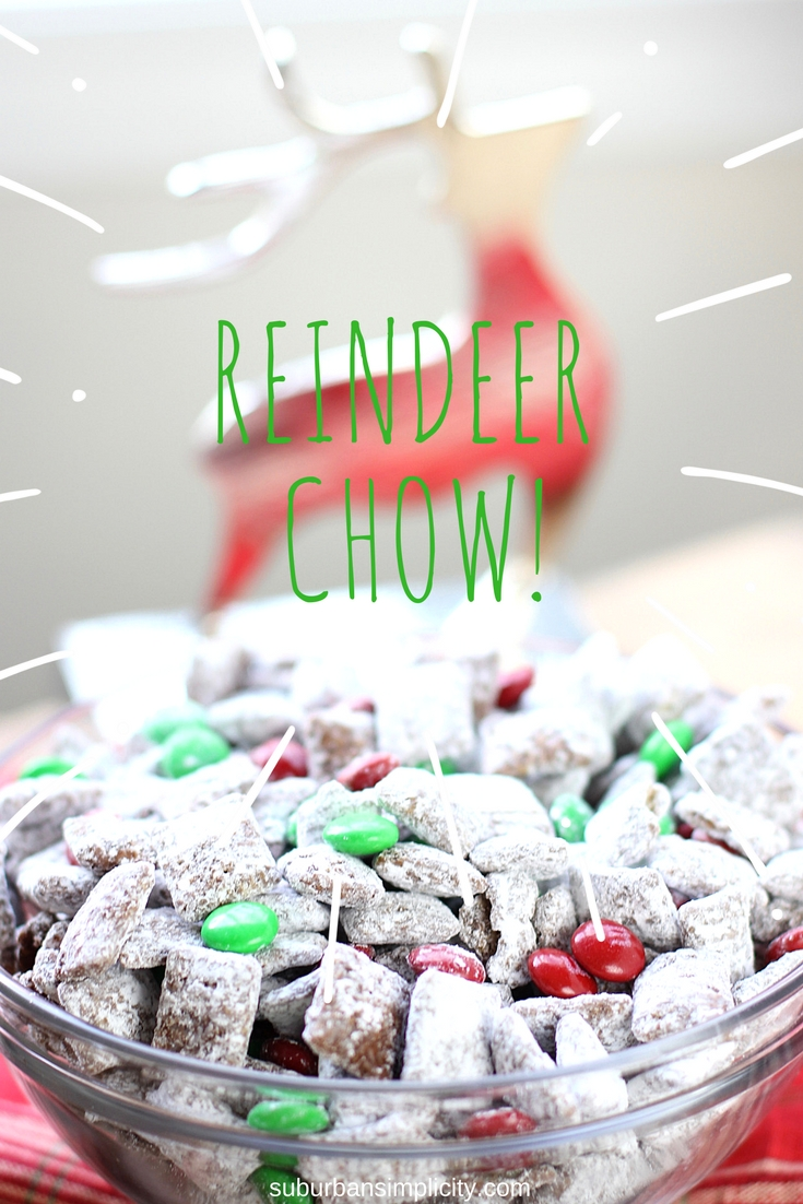 Reindeer Chow Muddy Buddies are the perfect Christmas treat!  This easy Christmas Chex Puppy Chow is a must make for your holiday gatherings! #Christmasrecipe #puppychow