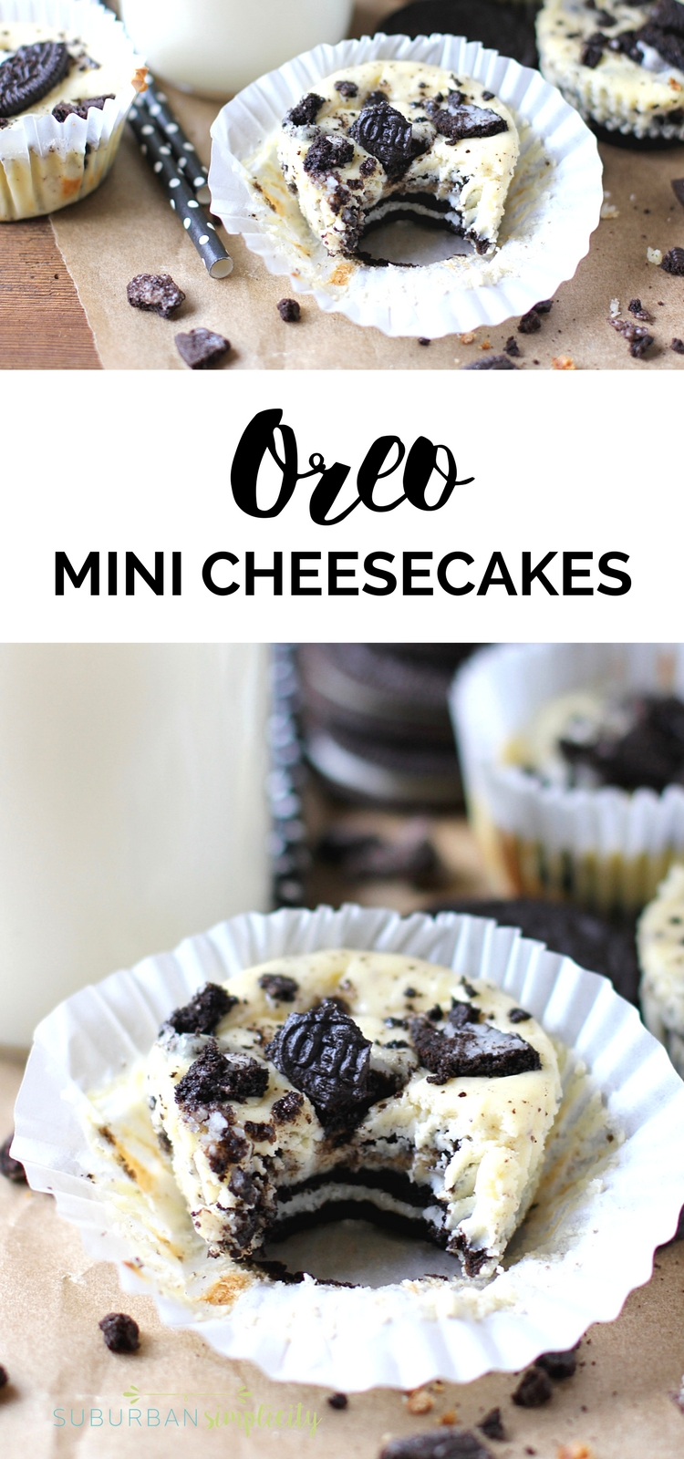 Oreo Mini Cheesecakes are a delicious bite-sized dessert with creamy cheesecake and an amazing Oreo cookie crust. This 5-ingredient Oreo treat idea is easy and perfect for just about any occasion!