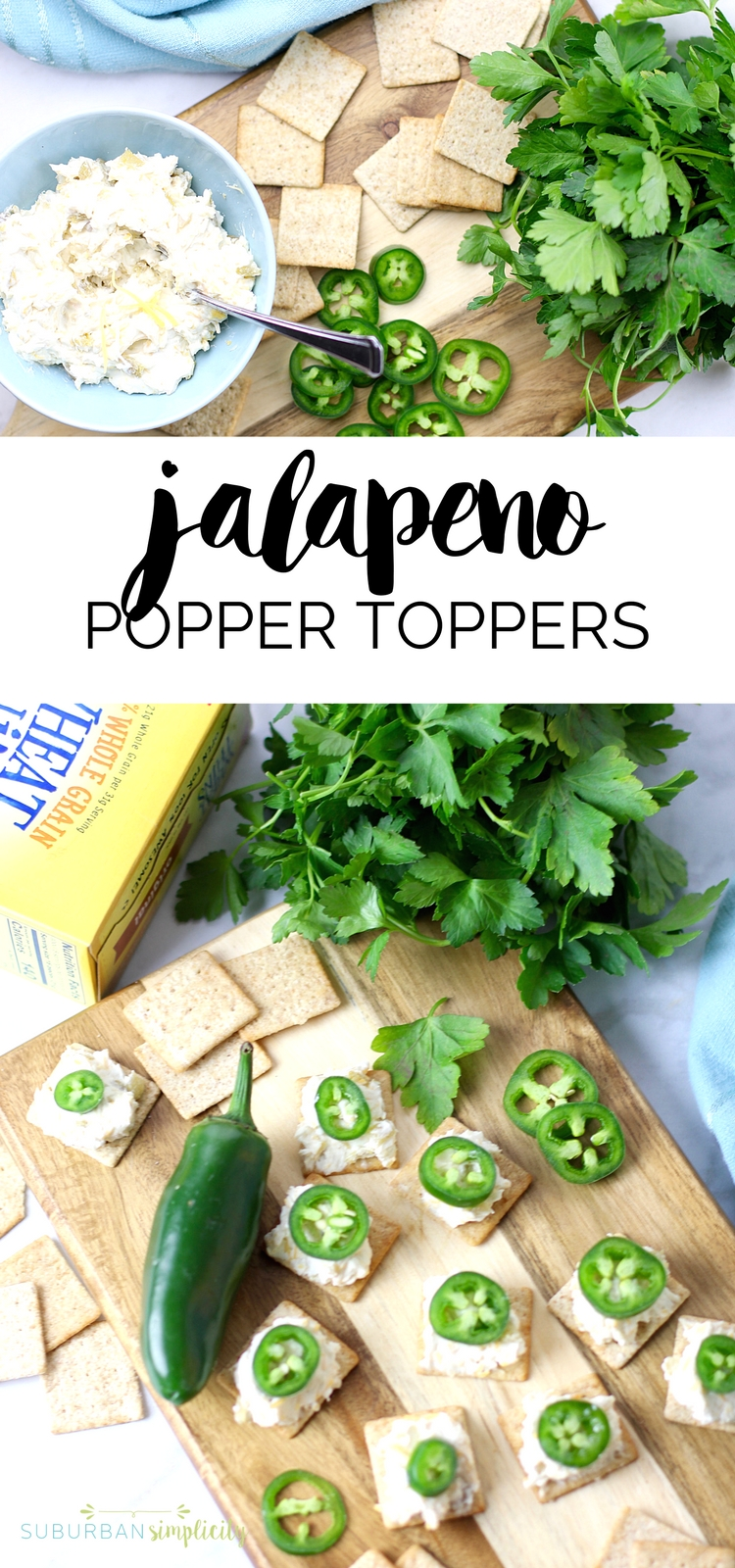 Zesty JALAPEÑO POPPER TOPPERS with WHEAT THINS make the perfect snack for your game day spread. Bite-sized, but plenty of kick featuring a creamy, cheesy spread topped with a fresh jalapeño that you can't resist! #ad #appetizer #gamedayrecipes