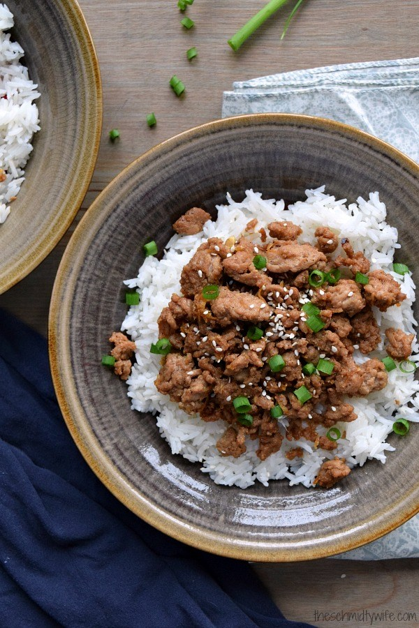Korean turkey and rice in a brown bowl.