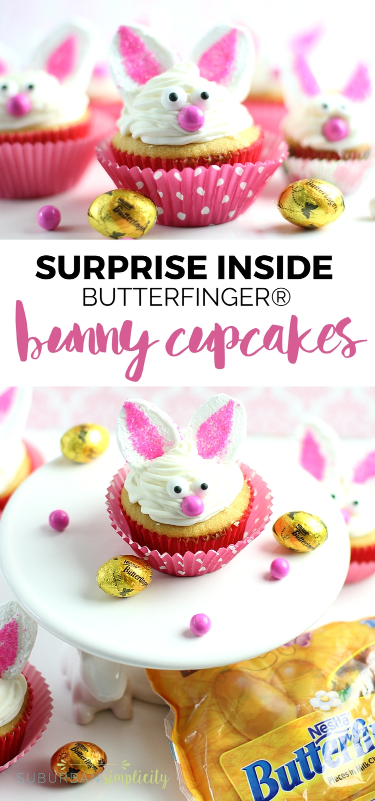 Bunny Cupcakes with a BUTTERFINGER® Surprise Inside are what you need to make this Easter! Adorable, easy and fun and the perfect dessert idea for any spring party or gathering. Plus, there's a yummy surprise waiting inside!