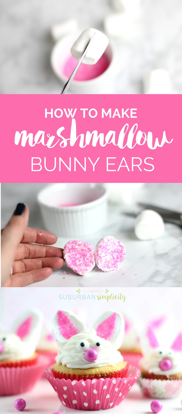 This totally simple scissor trick will give you the cutest marshmallow bunny ears in a flash! Decorate all your spring treats and bunny cupcakes with this easy DIY idea. #easter #bunnycupcakes #marshmallowrecipes