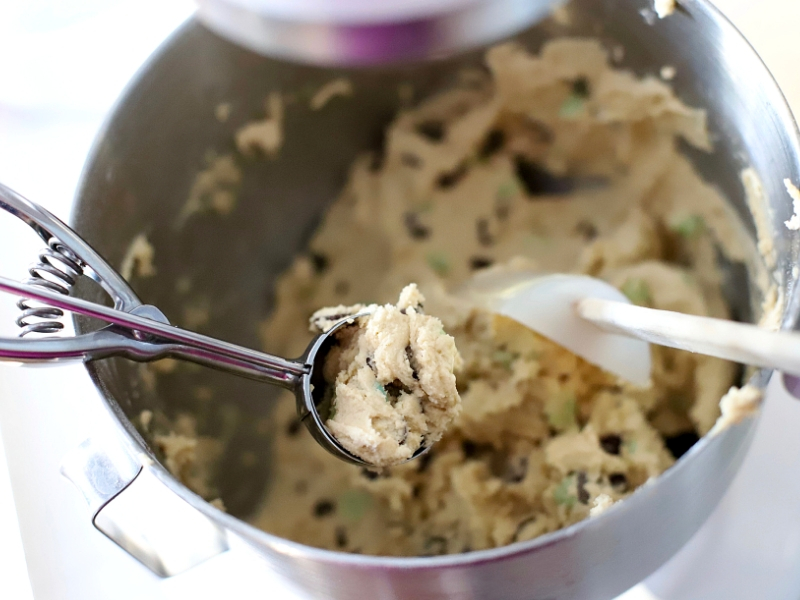 Mint Chocolate Chip Cookie Dough in a mixing bowl.