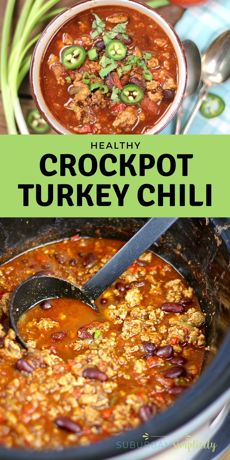 Need a satisfying and Healthy Crockpot Turkey Chili that's easy to throw together? Try this zesty, protein-packed, full-flavor slow cooker recipe. Weeknights have never been so easy! #crockpotrecipes #turkeychili #healthyrecipes