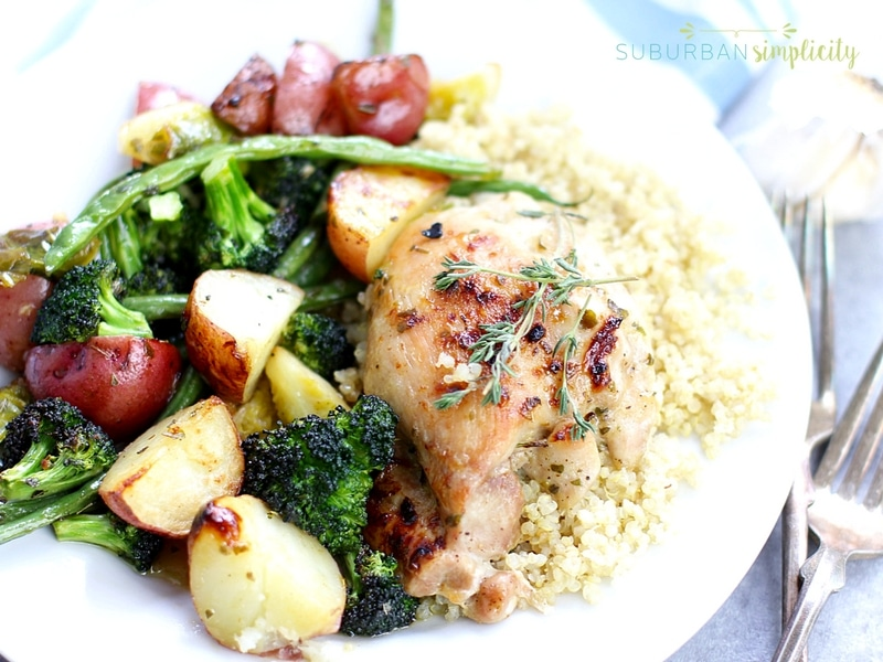 One pan honey garlic chicken and vegetable on a plate with quinoa.