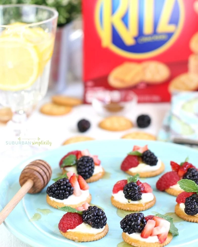 Berries and Cream Ritz Cracker Topper on a plate.