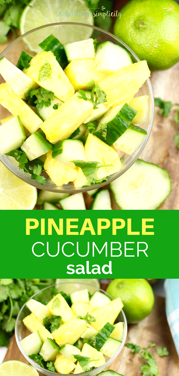 This 4-ingredient Pineapple Cucumber Salad is a simple side dish recipe with amazing flavor! It's so easy because it's ready in under 10 minutes. #pineapplerecipes #pineapplesalad #easyrecipe
