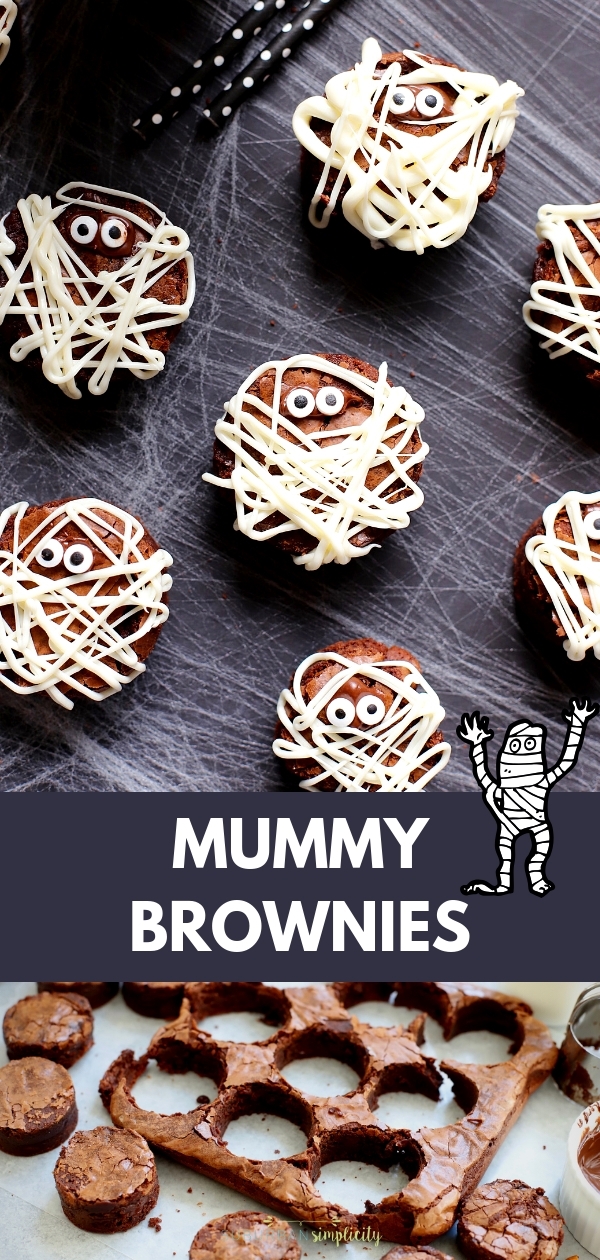 These Mummy Brownies are perfect for Halloween!  They'll scare up a good time and they're so easy to make! The perfect kid-friendly treat! #suburbansimplicity #halloween #hallowweenfood #halloweenideas