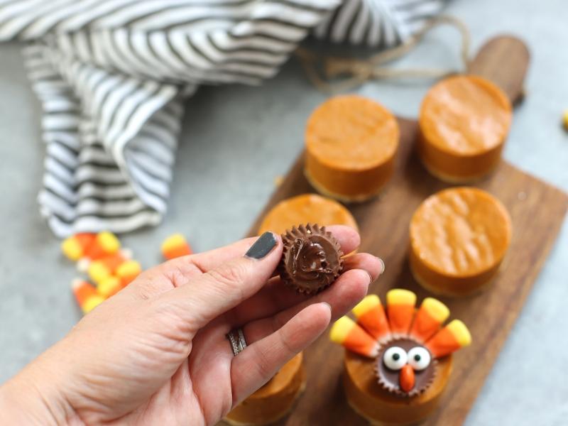 Reese's Peanut Butter cup for Pumpkin Pie Turkey dessert.