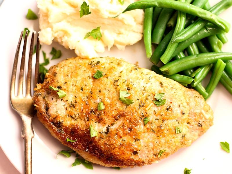 Parmesan Pork Chops ready to eat.