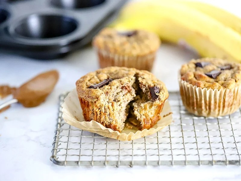 Banana Almond Butter Muffins on the counter.
