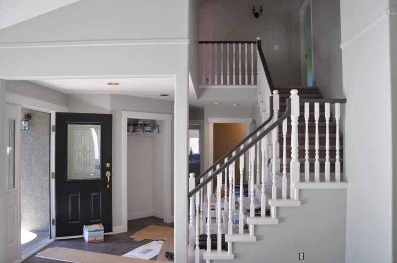 A Progress Post Our White Railings With A Dark Handrail
