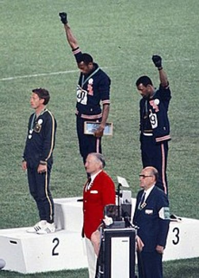 The Black Power Salute John Carlos, Tom Smith and Peter Norman on the podium in Mexico City.