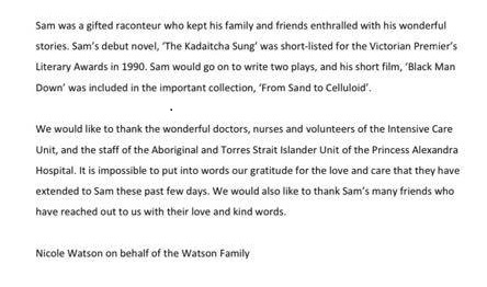 Statement from Sam Watson's family following his death