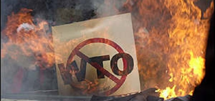 No WTO sign on fire