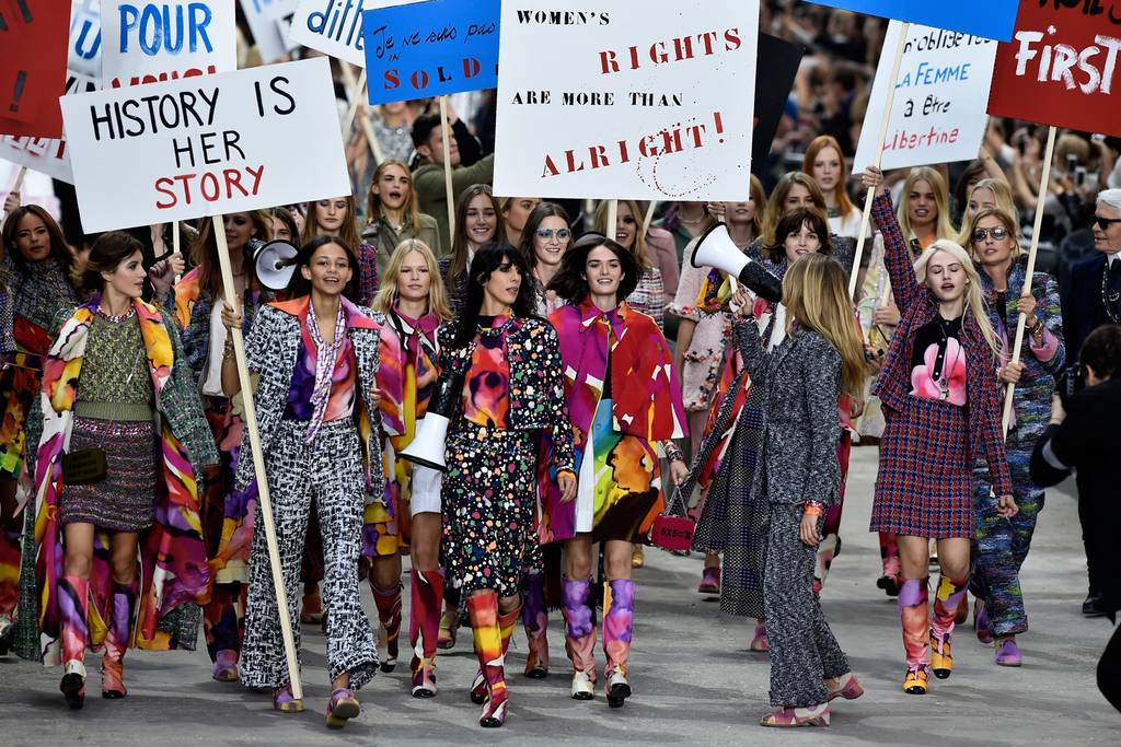 Chanel SS15 Feminist March. Image via the London Evening Standard.