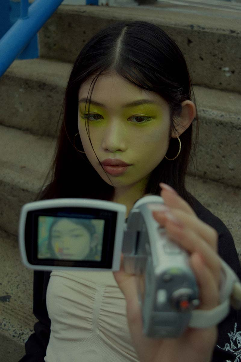 Millie Ng or Video Doll is featured in this fashion editorial.