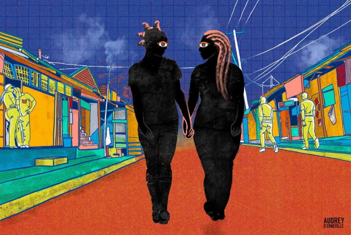Queer couple walking through Nairobi Kenya