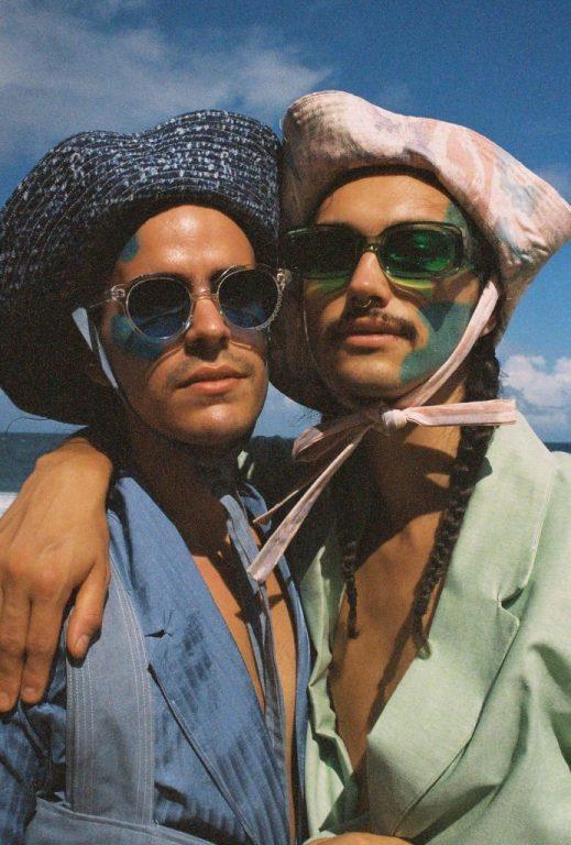 Dhani and Luis modeling eyewear