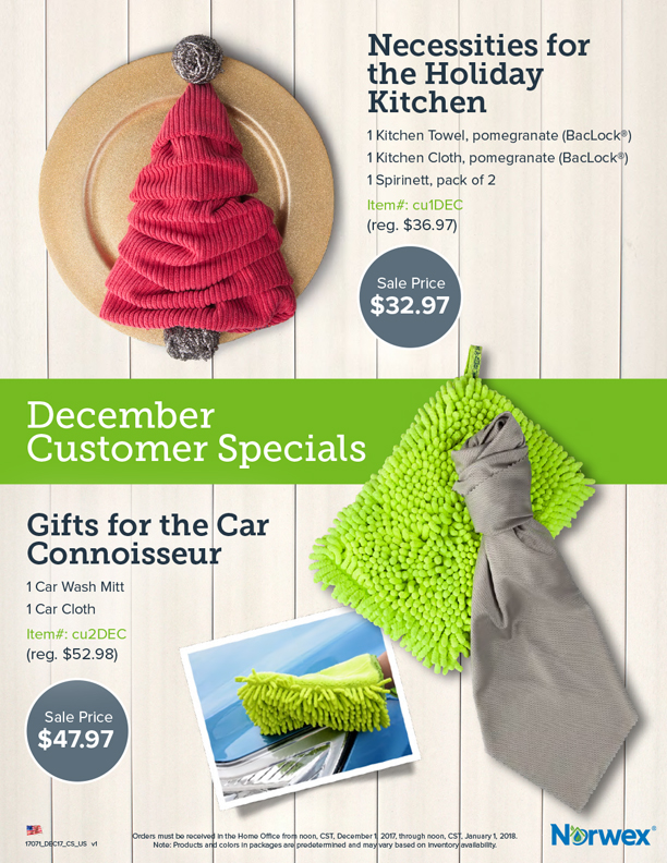 December 2017 Norwex Customer Specials