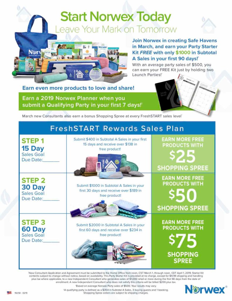 norwex, reduced qualification, join for free, north carolina
