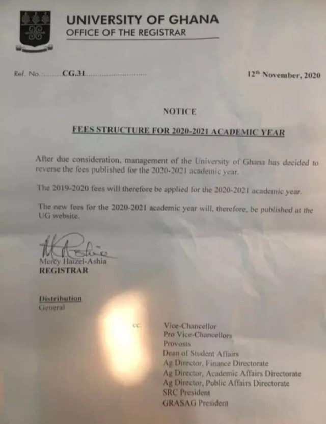UG: Pay 2019/2020 Academic Year Fees For 2020/2021 Academic Year - Management