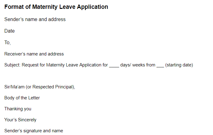 Maternity Leave Application Maternity Leave Application Format Examples Samples