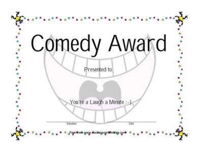 Comedy Award Certificate