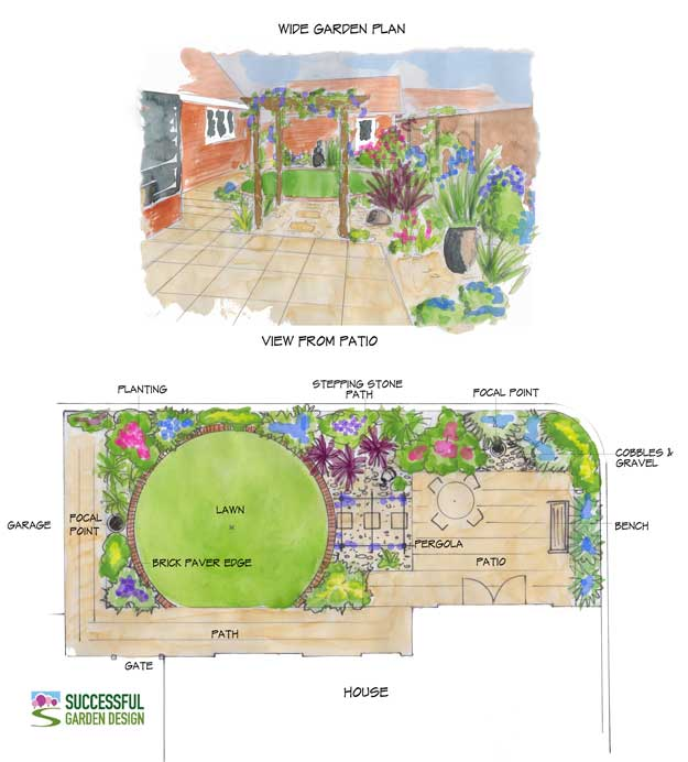 Wide garden design case study for Learn landscape design