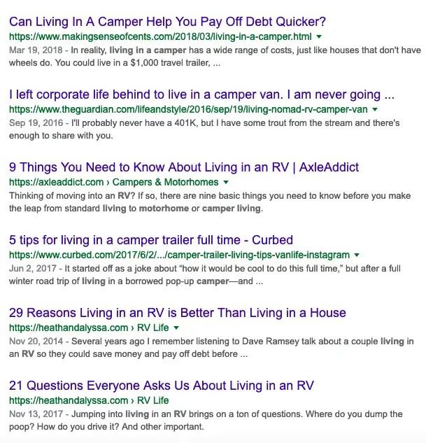 camper van Google results - user intent