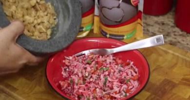 Deliciosoo plato típico guatemalteco conocido como chojín, es a base de rabano.