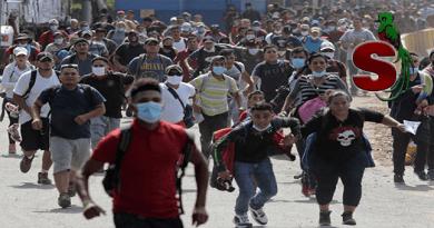 Caravana de migrantes hondureños que ingresaron de forma ilegal a Guatemala