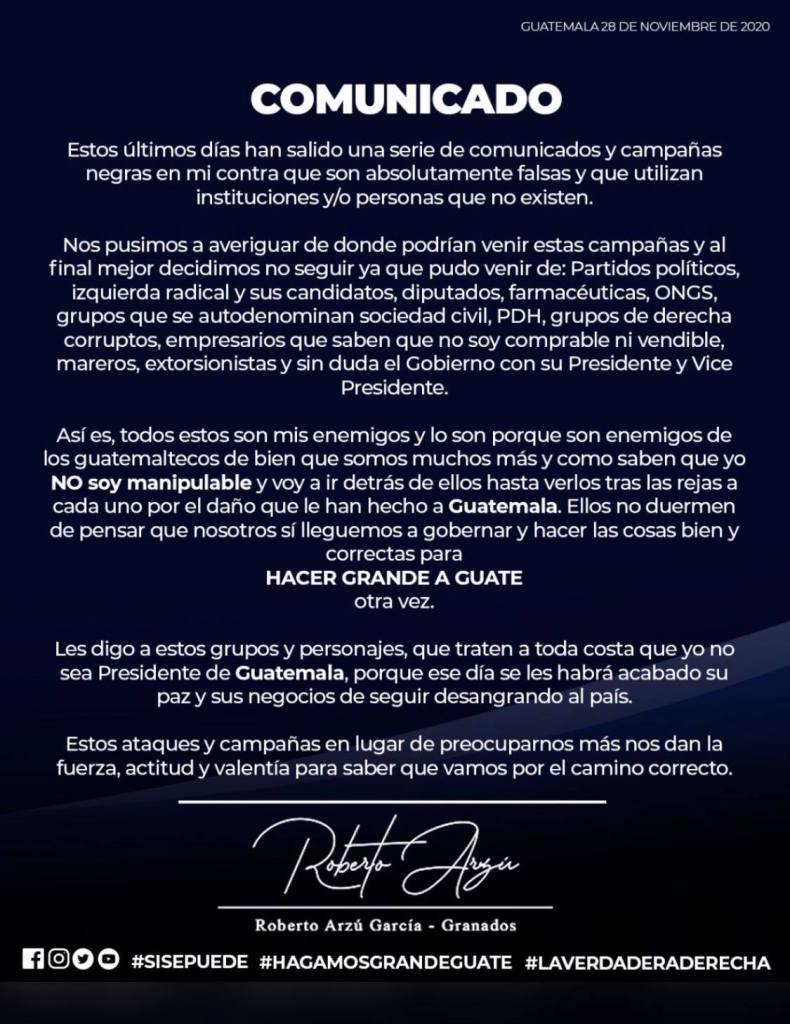 Comunicado efectuado por el ex presidenciable Roberto Arzú García-Granados publicado en sus redes sociales.