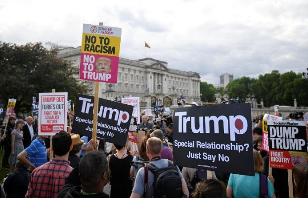 Donald Trump turns to Brexit and Huawei as protests planned in London