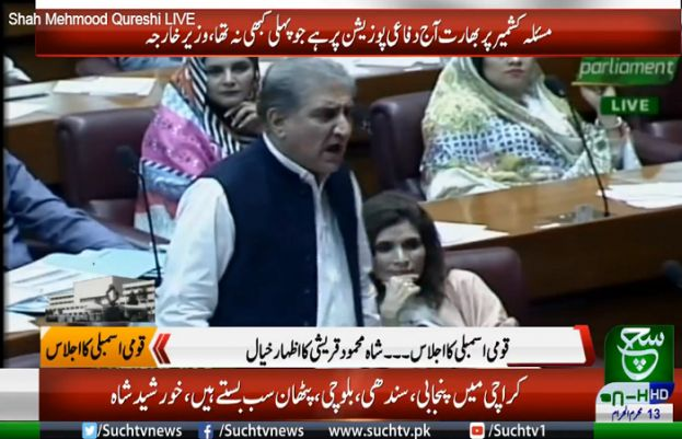 Foreign Minister Shah Mahmood Qureshi speaking in the National Assembly