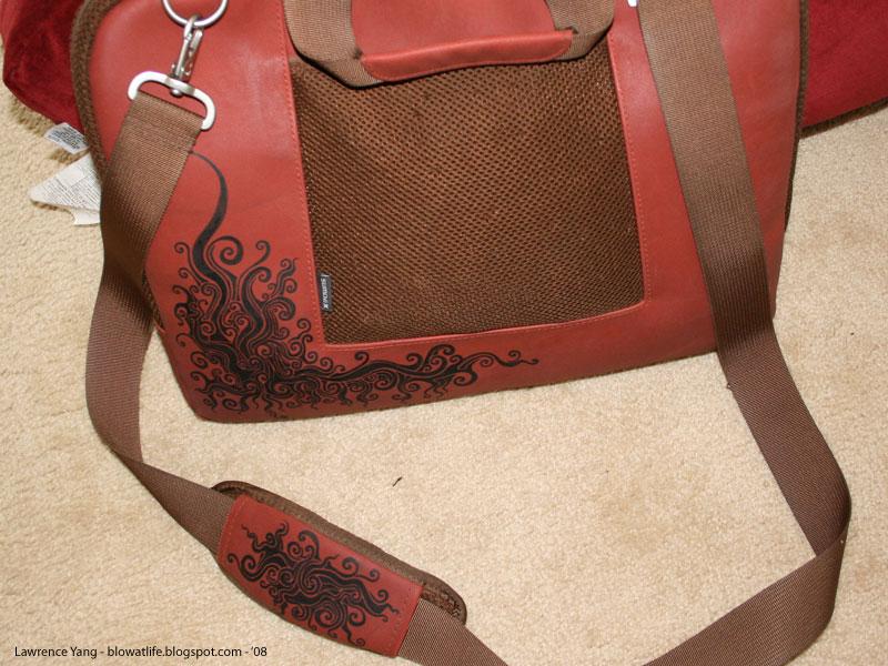 Bag Tattoo - front - fabric ink on ultrasuede laptop bag