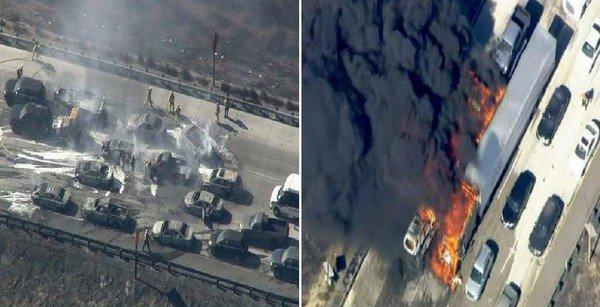حريق غابات في كاليفورنيا يجتاح طريقاً سريعاً ويُحرق السيارات حريق غابات في كاليفورنيا يجتاح طريقاً سريعاً ويُحرق السيارات
