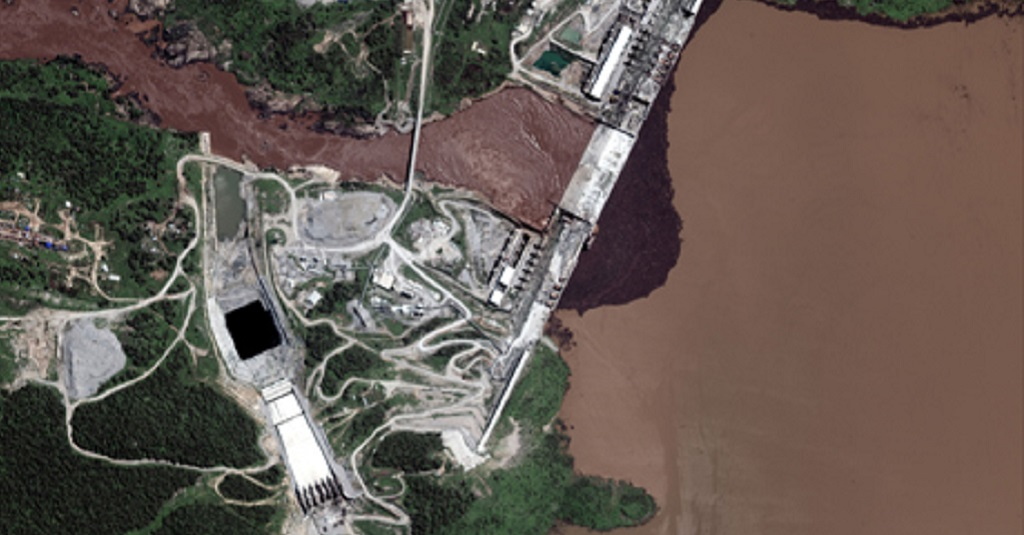A handout satellite image shows a close-up view of the Grand Ethiopian Renaissance Dam (GERD) and the Blue Nile River in Ethiopia July 12, 2020 [Photo via Reuters]
