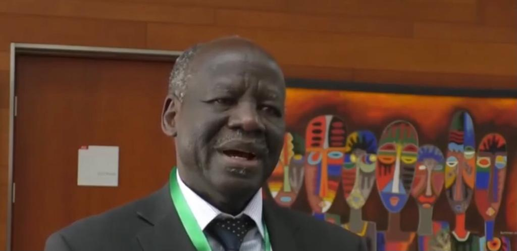 Dr. Lam Akol speaking to journalists during peace talks in Addis Ababa in 2018 [Photo by Sudans Post]