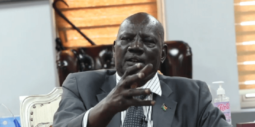 South Sudan information minister and government spokesman Michael Makuei Lueth speaking in an interview with Eye Radio [Photo: screen-grab from interview with Eye Radio]