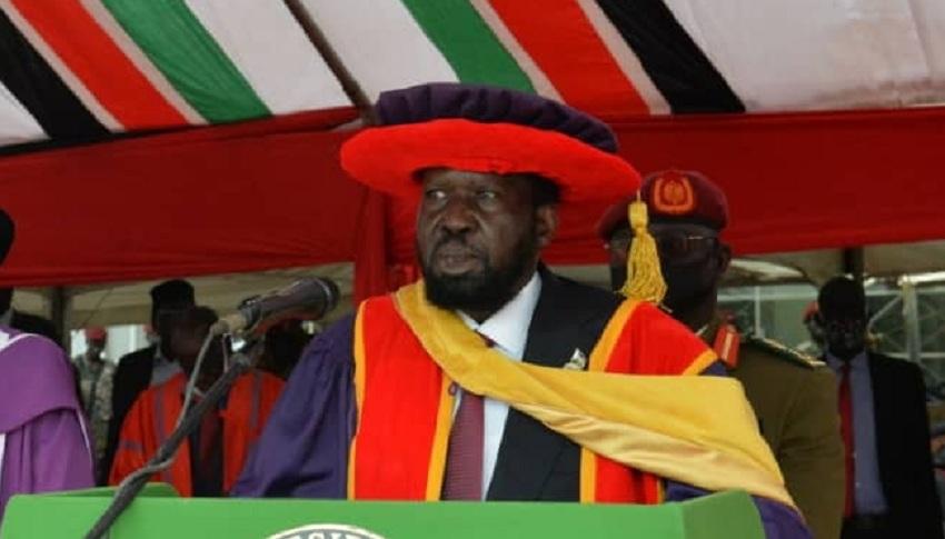 President Salva Kiir officiating the 23rd Graduation of the University of Juba. [Photo via presidency]