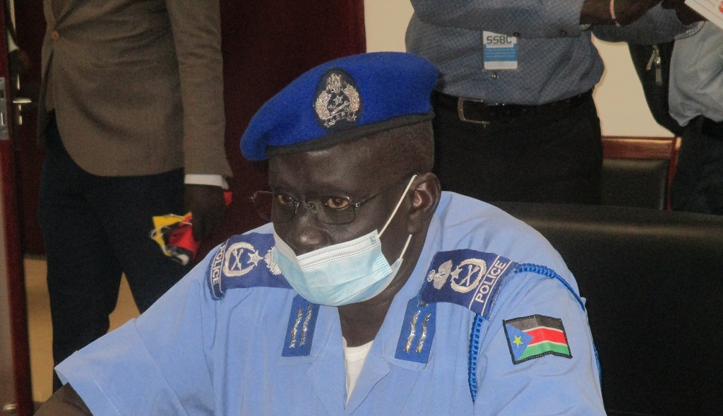 Director General of the Nationality and Passports at the ministry of interior, Gen. Atem Marol Bair speaks at a press conference in Juba on July 29, 2021 [Photo by Awan Achiek/Sudans Post]