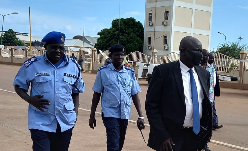 South Sudan's Inspector General of Police General Majak Akec seen at Juba airport travelling to Kinshasa, DR Congo, for regional police chiefs' conference. [Photo by SSNPS]