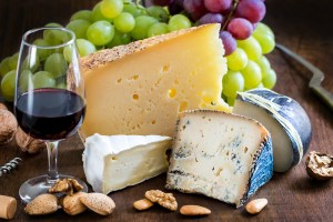 Cheese, wine and fruit platter in Plettenberg Bay