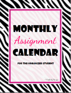 Monthly Assignment Calendar