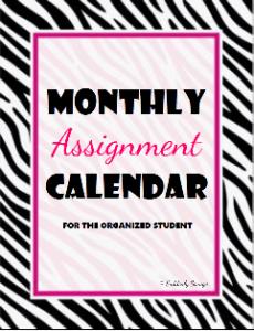 Monthly Assignment Calendar