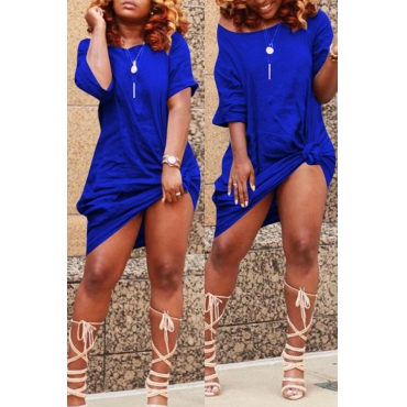Blue knotted dress